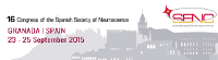 16th Congress of the Spanish Society of Neuroscience. 2015