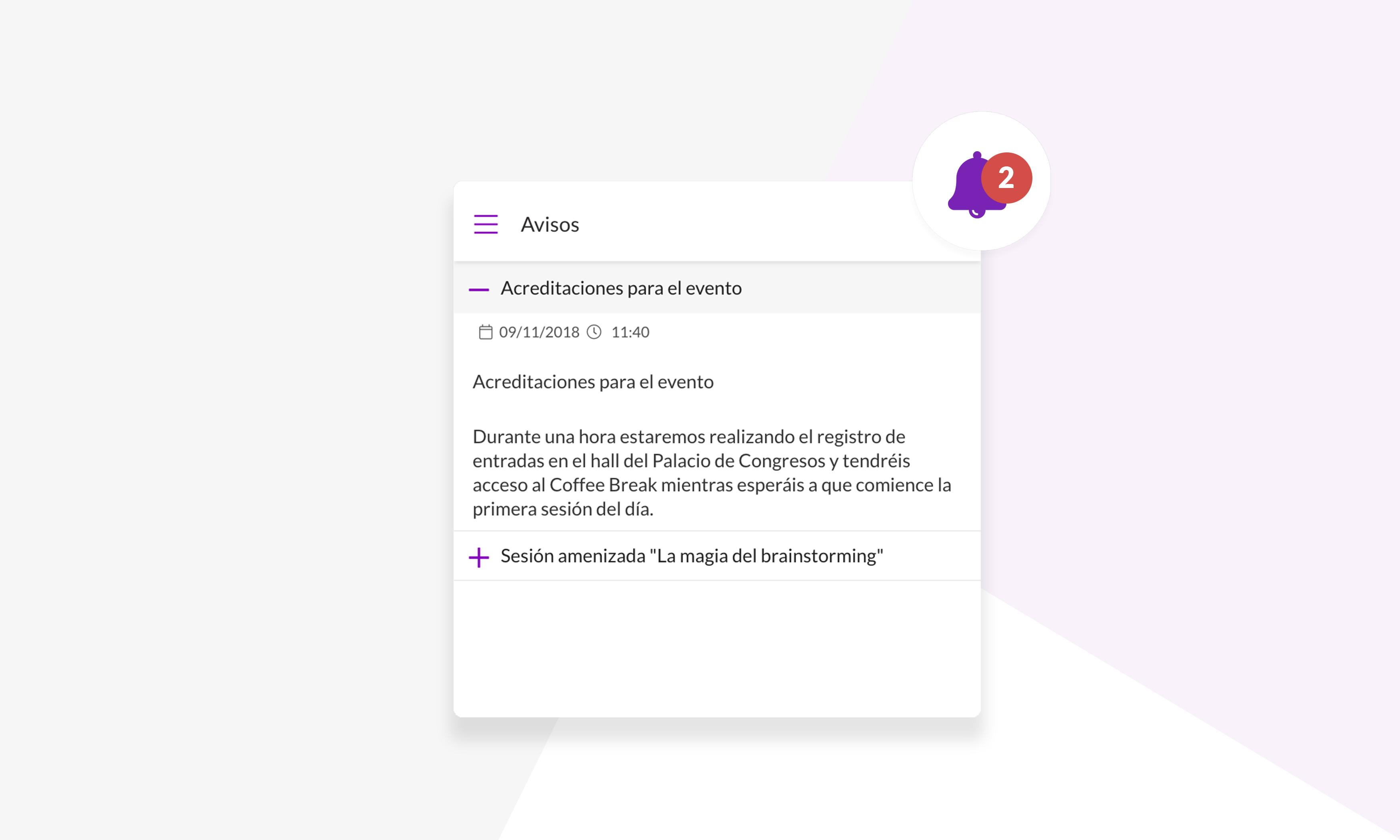 notificaciones push app eventos